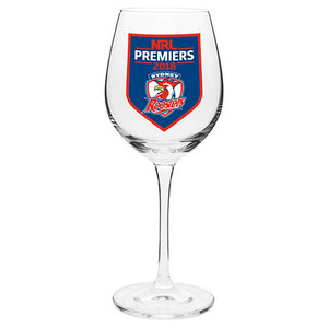 Load image into Gallery viewer, Sydney Roosters 2018 Premiers Wine Glass