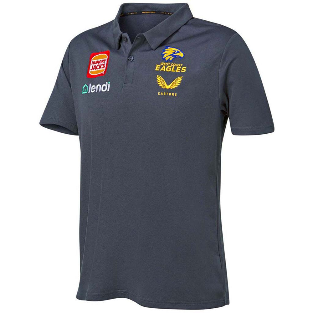 West Coast Eagles 2021 Travel Players Polo - Grey
