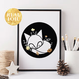 Black and white sleeping fox print with gold foil (A4)