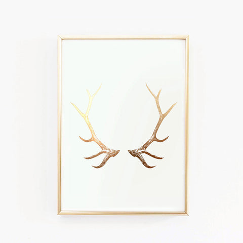 Antlers print with gold foil detail (A4)