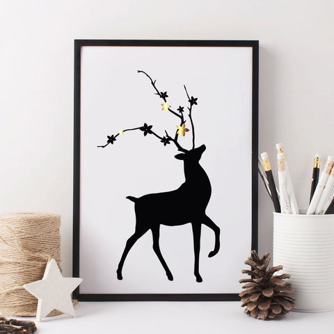Deer print with gold foil detail (A4)