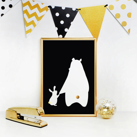 Black and white bear & rabbit print with gold foil detail (A4)