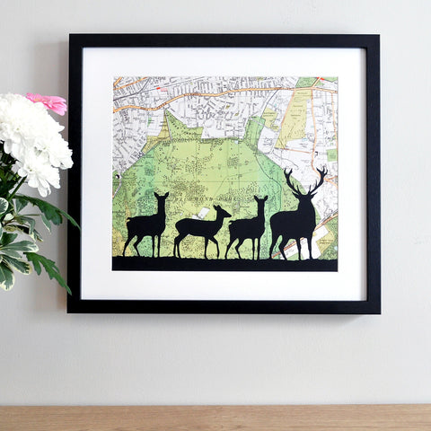 Deer silhouette personalised vintage map artwork