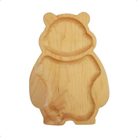 Handmade bear design wooden snack plate