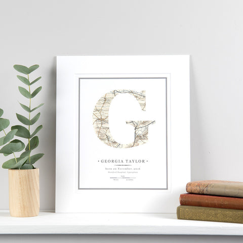New baby personalised initial letter print