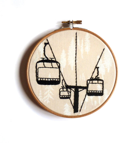Chairlift silhouette embroidery hoop art wall decoration