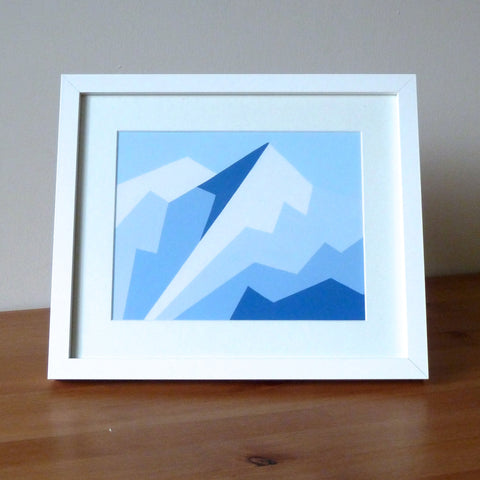 Original painting - Geometric Mountain 'Chamossiere and pointe d'angolon'
