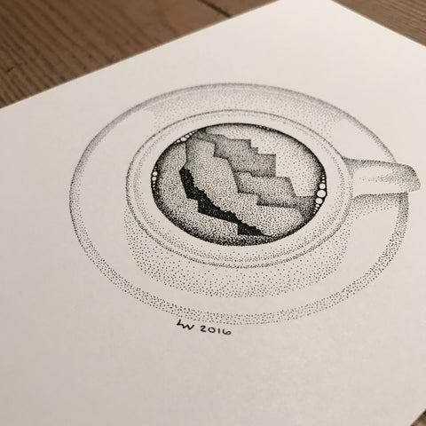 Coffee dreams mountain print (A5)
