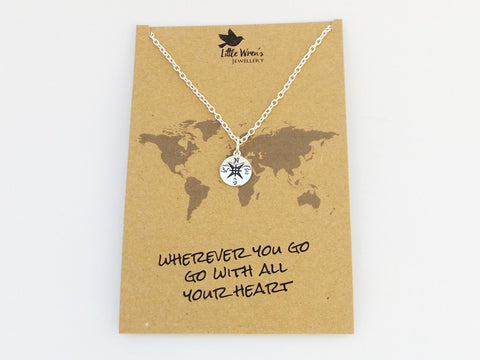 Compass necklace & compass charm wish bracelet giftset
