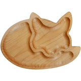 Handmade fox design wooden snack plate
