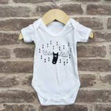 Hand screen printed 'moose' design baby vest