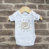 Hand screen printed 'owl' design baby vest