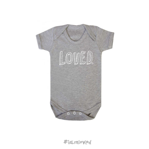 """Loved"" grey babygrow"