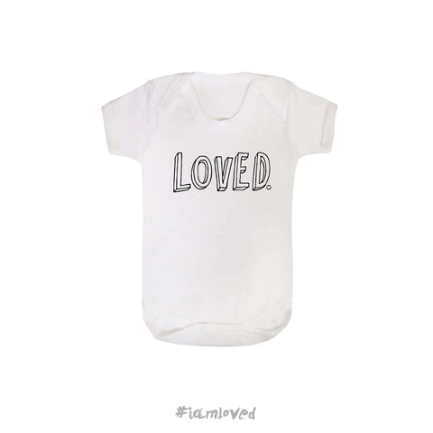 """Loved"" white babygrow"