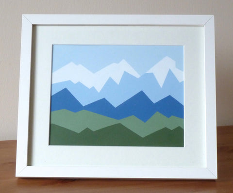 Les Gets Geometric Mountain range Acrylic Painting 10x12""