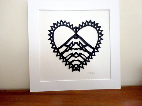 """Love mountains"" papercut artwork"