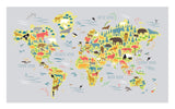 World animal map print