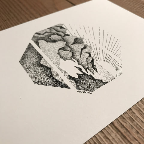 Octagon mountain print (A5)