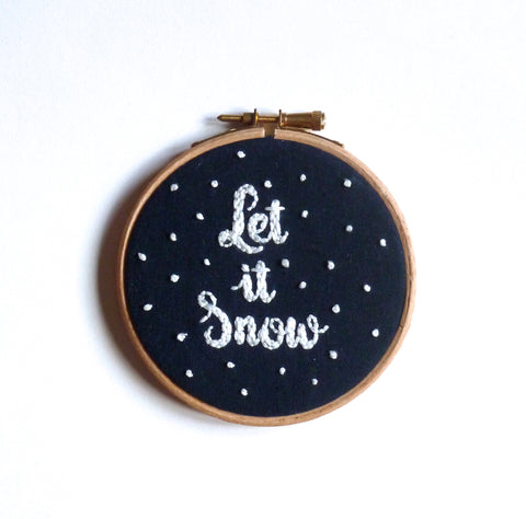 """Let it snow"" embroidery hoop art wall decoration"