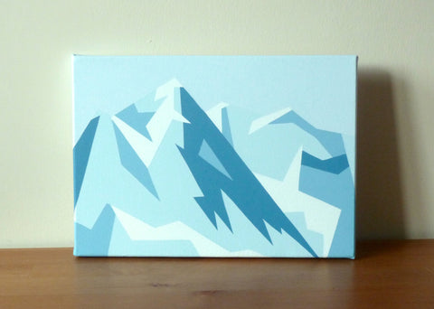 Nyon, Morzine - Original geometric mountain landscape painting Acrylic on Canvas 14x10""