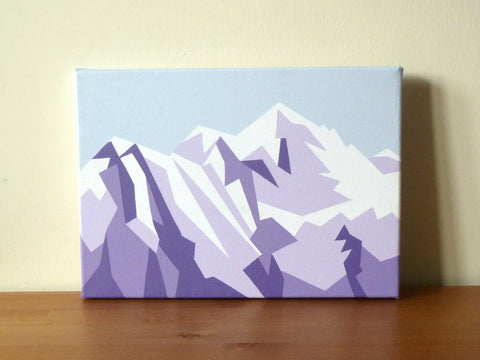 Evening view of Mont Blanc - Original geometric mountain landscape painting Acrylic on Canvas 14x10""