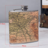 Hip flask personalised with any map desination