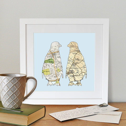 Penguins vintage map artwork personalised with two destinations