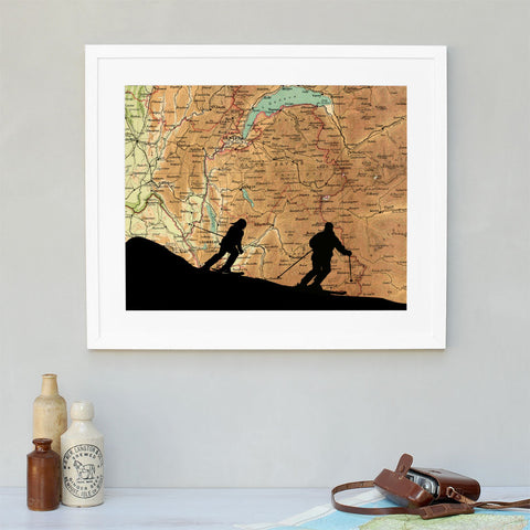 Ski silhouette personalised vintage map artwork
