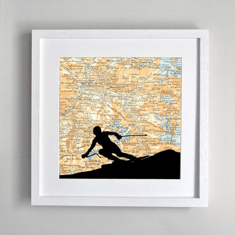 Skier silhouette personalised vintage map artwork