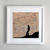Snowboarder silhouette personalised vintage map artwork