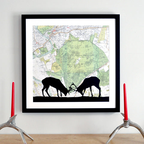 Stag silhouette personalised vintage map artwork