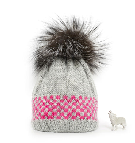 'Frost' with neon pink detail & fur pom pom superfine alpaca baby hat