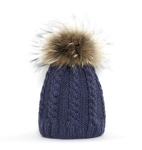 'French navy' with fur pom pom silk cashmerino baby hat