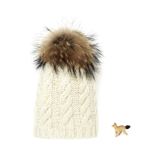 'Winter white' with fur pom pom superfine alpaca baby hat
