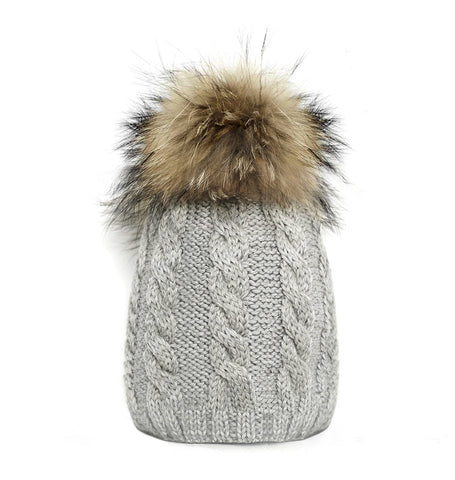 'Frost' with fur pom pom superfine alpaca baby hat