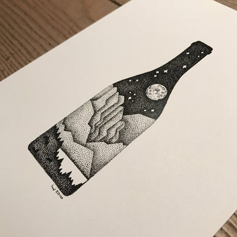 Wine mountain print (A5)