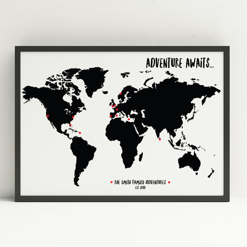 """Adventure awaits"" personalised travel map (A3)"