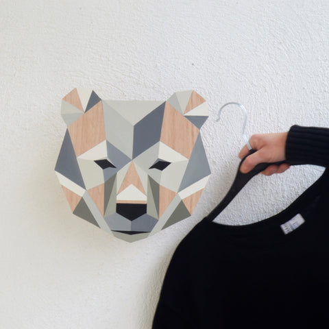 Wooden wall hanger - bear design
