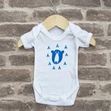 Hand screen printed 'bear' design baby vest