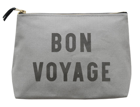 """Bon voyage"" grey wash bag"