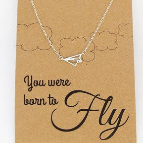 'Born to fly' paper plane pendant necklace