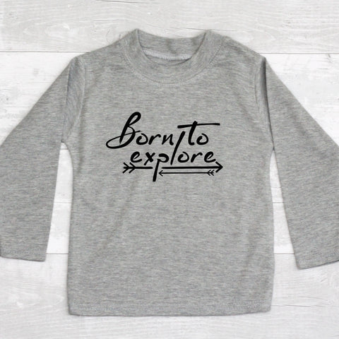 """Born to explore"" long-sleeved tee"