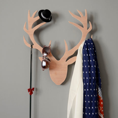 Wooden deer multi-hook hanger