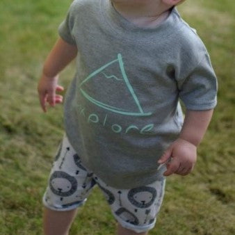 'Explore' mini mountain design tee for littles
