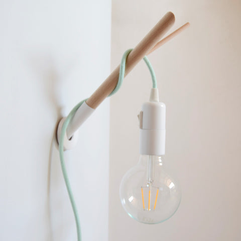 Handmade wooden lamp hook with colour fabric cable