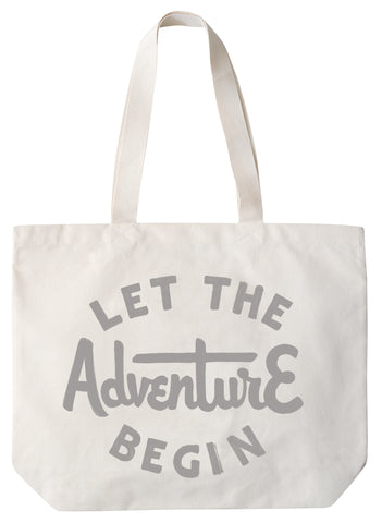 """Let the adventure begin"" large canvas tote bag"