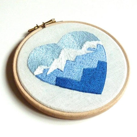 Mountain heart embroidery hoop art wall decoration