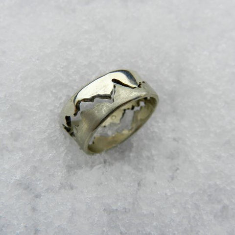 Double mountain range design handmade ring