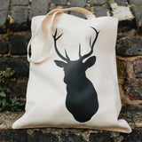 Stag design natural bag