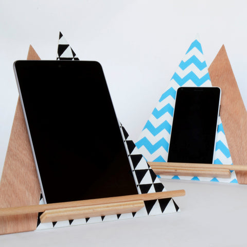 Handmade wooden mountain tablet/iPad stand